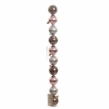 10-delige kerstballen set bruin/roze