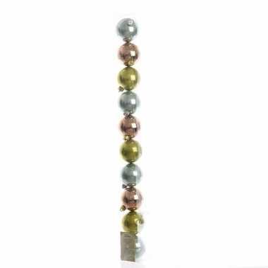 10-delige kerstballen set groen/brons