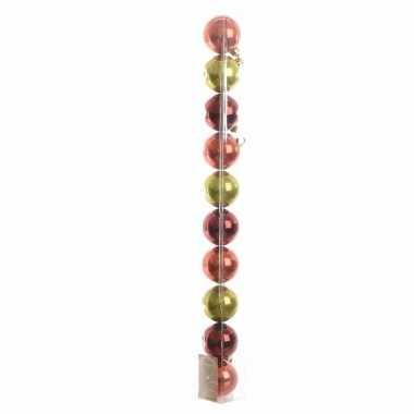 10-delige kerstballen set rood/groen