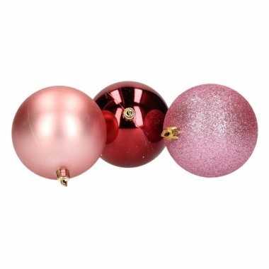 10-delige kerstballen set roze/bordeaux 8 cm