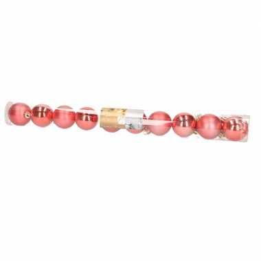 10 delige kunststof kerstballen set rood type 2