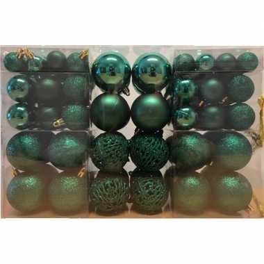 100x emerald groene kunststof kerstballen 3 4 6 cm