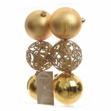 12-delige kerstballen set 8 cm goud