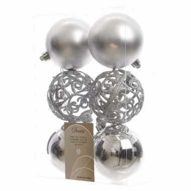 12-delige kerstballen set 8 cm zilver