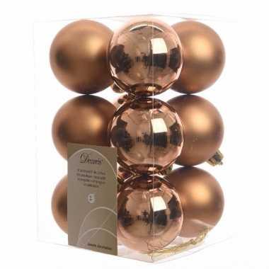 12 delige kerstballen set brons