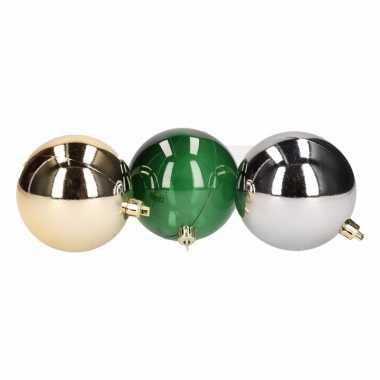 12-delige kerstballen set goud/zilver/groen 7 cm