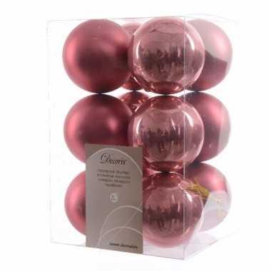 12 delige kerstballen set oud roze