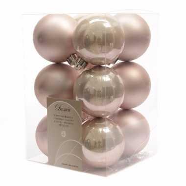 12 delige kerstballen set roze