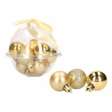 12-delige mini kerstballenset goud 3 cm