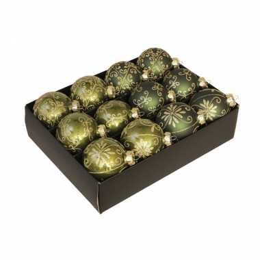 12x glazen gedecoreerde donkergroen met gouden kerstballen 7,5 cm
