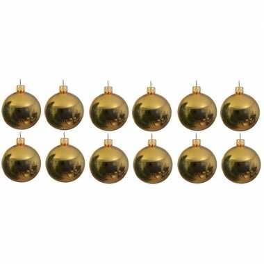 12x glazen kerstballen glans goud 10 cm kerstboom versiering/decoratie