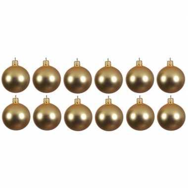 12x glazen kerstballen mat goud 10 cm kerstboom versiering/decoratie