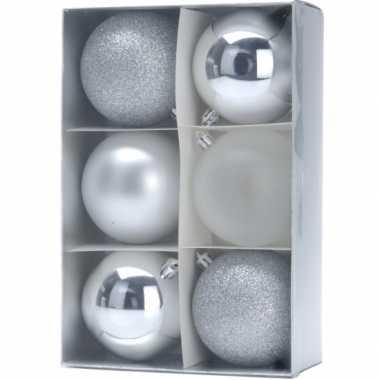 12x kerstboomversiering zilveren kerstballen 12 stuks