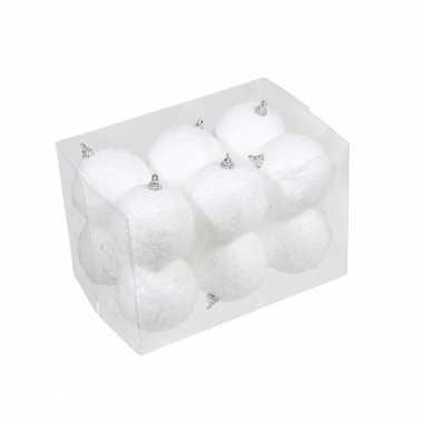 12x kleine kunststof kerstballen met sneeuw effect wit 7 cm