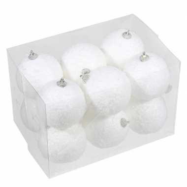 12x kleine kunststof kerstballen met sneeuw effect wit 8 cm