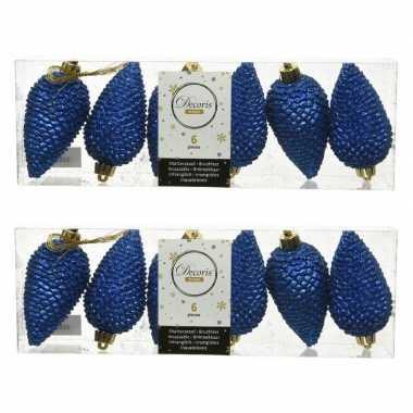 12x kunststof dennenappel kerstballen glitter kobalt blauw 8 cm kerstboom versiering/decoratie