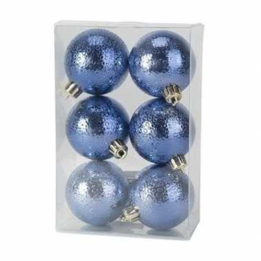12x kunststof kerstballen cirkel motief donkerblauw 6 cm kerstboom versiering/decoratie