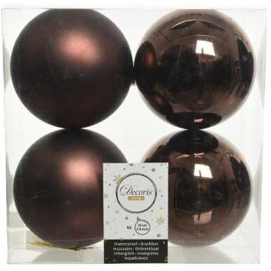 12x kunststof kerstballen glanzend/mat donkerbruin 10 cm kerstboom versiering/decoratie