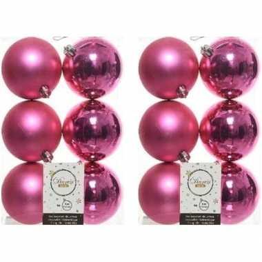 12x kunststof kerstballen glanzend/mat fuchsia roze 8 cm kerstboom versiering/decoratie fuchsia roze
