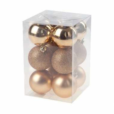 12x kunststof kerstballen glanzend/mat koperkleurig 6 cm kerstboom versiering/decoratie
