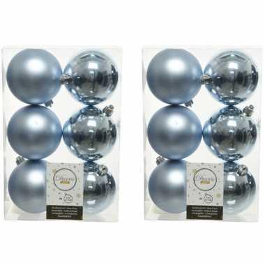 12x kunststof kerstballen glanzend/mat lichtblauw 8 cm kerstboom versiering/decoratie