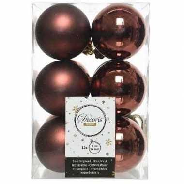12x kunststof kerstballen glanzend/mat mahonie bruin 6 cm kerstboom versiering/decoratie