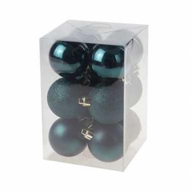 12x kunststof kerstballen glanzend/mat petrol blauw 6 cm kerstboom versiering/decoratie