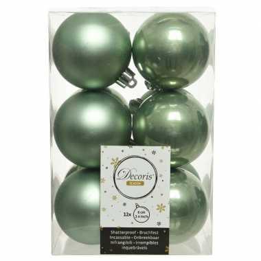 12x kunststof kerstballen glanzend/mat salie groen 6 cm kerstboom versiering/decoratie