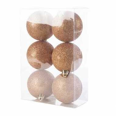 12x kunststof kerstballen glitter koper 8 cm kerstboom versiering/decoratie