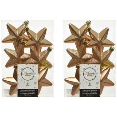 12x kunststof sterren kerstballen glans/mat/glitter camel bruin 7 cm kerstboom versiering/decoratie
