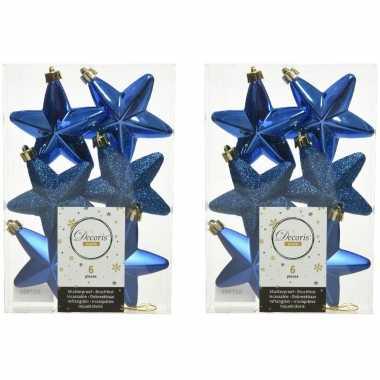 12x kunststof sterren kerstballen glans/mat/glitter kobalt blauw 7 cm kerstboom versiering/decoratie