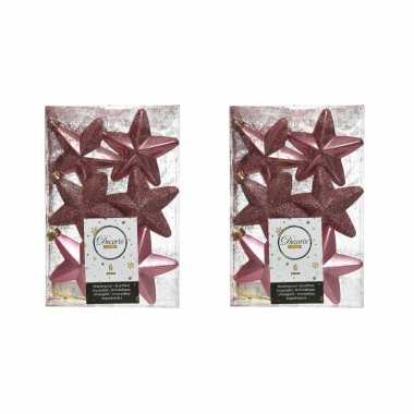 12x kunststof sterren kerstballen glans/mat/glitter oud roze 7 cm kerstboom versiering/decoratie