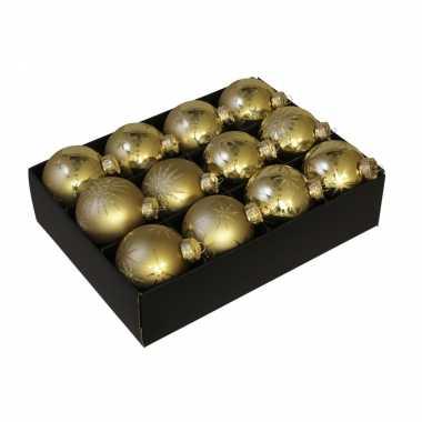 12x luxe glazen gouden sneeuwvlokken/sterren kerstballen 7,5 cm