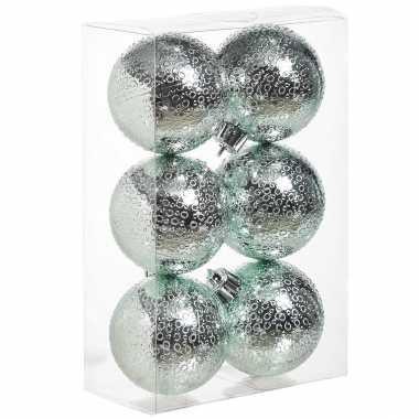 12x mintgroene cirkel motief kerstballen 6 cm kunststof