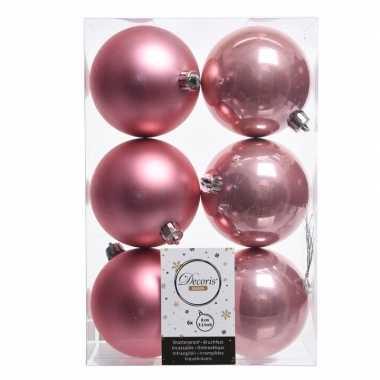 12x oud roze kerstballen van kunststof 8 cm