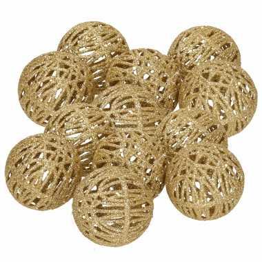 12x rotan kerstversiering kerstballen goud met glitter 5 cm