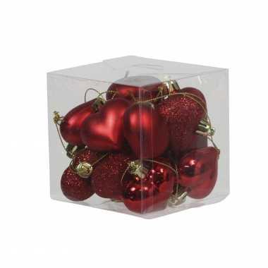 15x kerstboomversiering rode hartjes kerstballen 4 cm