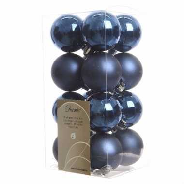 16 delige kerstballen set blauw 10082116