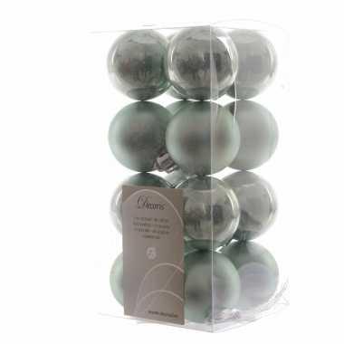 16-delige kerstballen set mintgroen