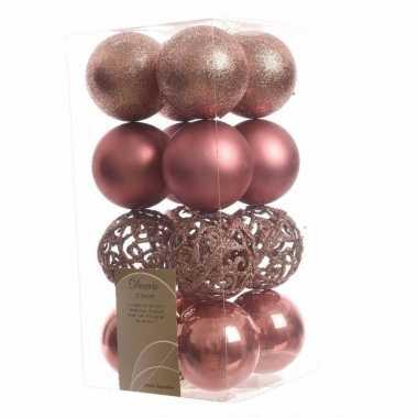 16 delige kerstballen set oud roze