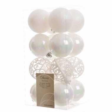 16-delige kerstballen set wit