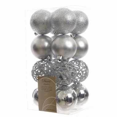 16 delige kerstballen set zilver