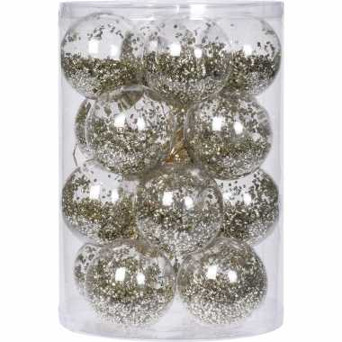 16x doorzichtige kunststof kerstballen met gouden decoratie 8 cm