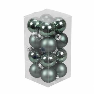 16x emerald groene kleine glazen kerstballen 3,5 cm mat/glans