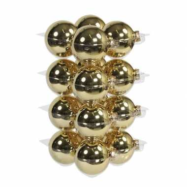16x glazen kerstballen mat en glans goud 8 cm