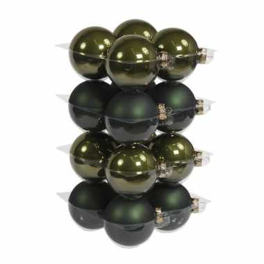 16x glazen kerstballen mat/glans donkergroen 8 cm