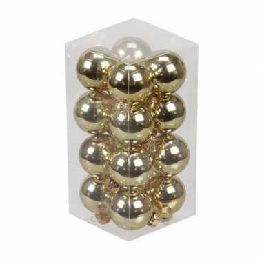 16x gouden kleine glazen kerstballen 3,5 cm glans