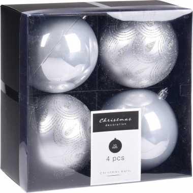 16x kerstboomversiering luxe kunststof kerstballen zilver 10 cm