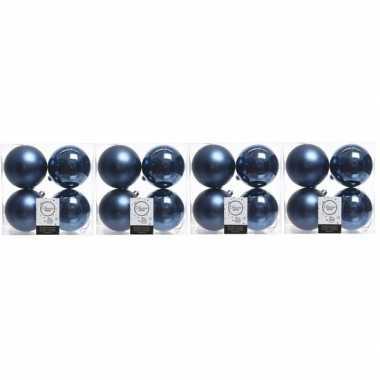 16x kunststof kerstballen glanzend/mat donkerblauw 10 cm kerstboom versiering/decoratie