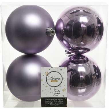 16x kunststof kerstballen glanzend/mat lila paars 10 cm kerstboom versiering/decoratie